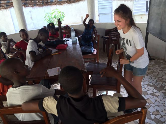 volunteer girl teaching